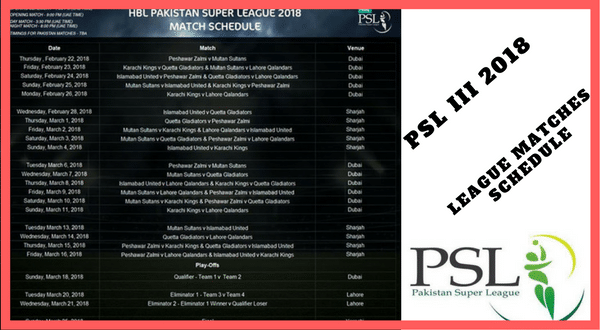 Psl 3 Matches Schedule